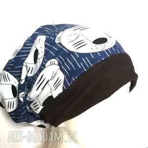 czapka damska męska w śpiące tygryski handmade, misie, tygrysy, sportowa