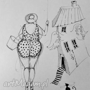 Rysunek piórkiem Lecę artystki plastyka Adriany Laube, rysunek, puszysta, balon