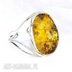 hand made srebrna bransoletka z bursztynem bałtyckim