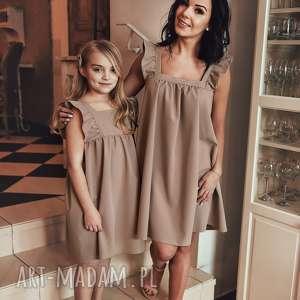 latori - sukienka dziewczęca z kolekcji mama i córka dla córki ld43/2 beż