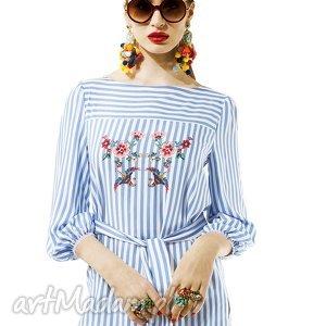 bluzka w paski amore, bluzka, paski, pasek, bufki, letnia, delikatna, święta prezent