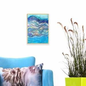annasko oprawiona grafika morze, rysunek abstrakcja, morski obrazek
