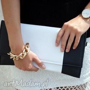 kopertówka - czarna i środek biały, prezent, kopertówka, listonoszka, wizytowa