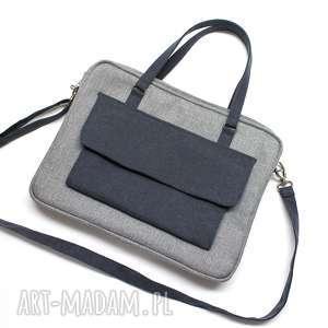 torba na laptop - szara i dodatki granatowe - elegancka, nowoczesna, denim, laptop