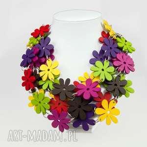 c483 Naszyjnik z drewnianych kwiatów, naszyjniki, srebro