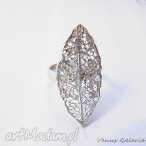 pierścionek srebrny - biały liść l8, biżuteria, srebro, pierścionek