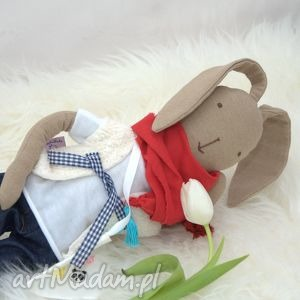 stefania - lalka zając w dżinsach, zając, królik, lalka, prezent, wielkanoc, bawełna