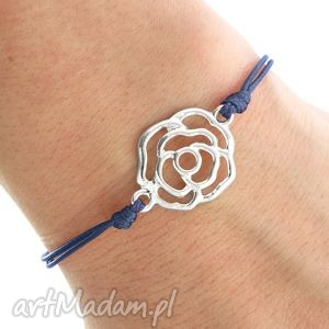 simply charm - navy blue twine with rose - róża