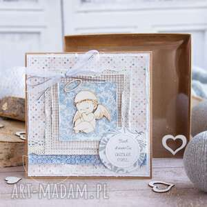 Kartka z aniołkiem pudełeczko pamiątka chrztu, urodzin