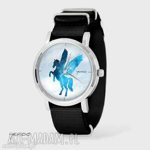 zegarek, bransoletka - pegaz czarny, nato, bransoletka, pegaz, koń