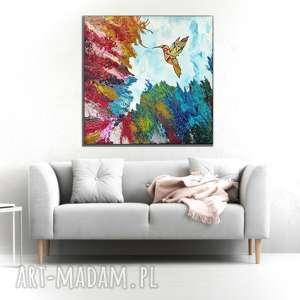 - koliber w tęczowej skale obraz do salonu - nowoczesny - abstrakcyjny