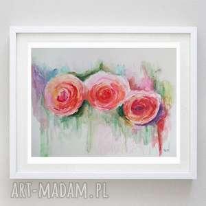 róże akwarela -obraz formatu 24/32 cm, róże, abstrakcja, papier