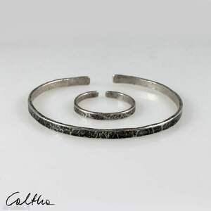 caltha komplet - srebrna bransoletka obrączka 200131-04