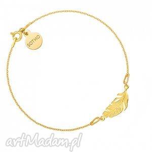 złota bransoletka z piórkiem - pozłacana piórko, delikatny