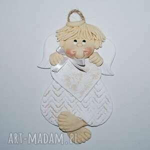 Anioł -romek ma pamiątkę dla dziecka magosza aniołek, masa solna