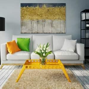 obraz na płótnie - złote drzewa 120x80 cm 77101, drzewa, abstrakcja, nowoczesny