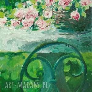 Olej na płótnie ogrodowe róże, romantyczny obraz malowany