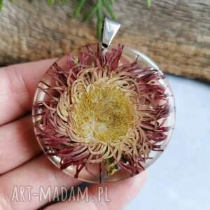 herbarium jewelry przeźroczysty wisior z kwiatkiem z1065, kwiatowa biżuteria