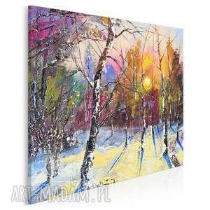 vaku dsgn obraz na płótnie - las zima drzewa w kwadracie 80x80 cm 62603