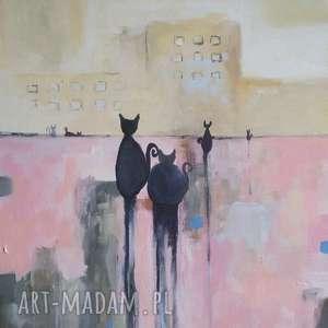miasto kotów -obraz akrylowy formatu 30/40