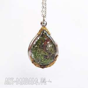 handmade naszyjniki mech - naszyjnik, łezka, mini las