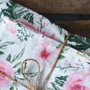 handmade pokoik dziecka tetrowy otulacz - różowe kwiaty