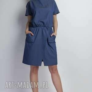 sukienka, suk120 jeans, jeansowa, asymetryczna, kokardka, kieszenie, casual