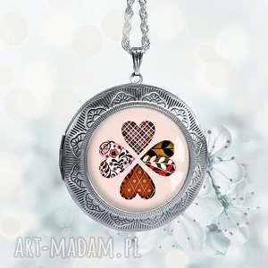 otwierany medalion - koniczyna, sekretnik, prezent