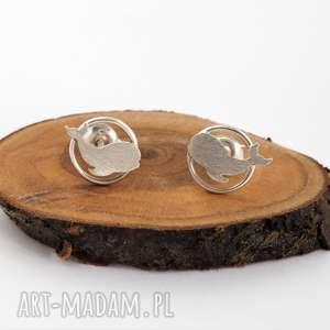 srebrne kolczyki wielorybki - wieloryby, natura, mini