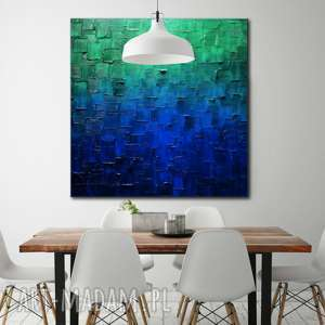 Turkusowy obraz abstrakcyjny, obrazy-do-salonu, obrazy-nowoczesne, obraz-na-sciane