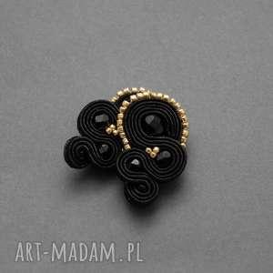 czarno-złote klipsy sutasz, sznurek, eleganckie, delikatne, wieczorowe, małe,