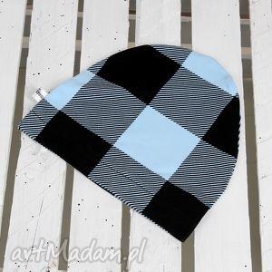 czapka w kratkę - czapka, kratka, dziecko, niemowlę, prezent, niebieska