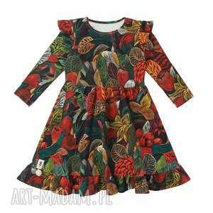 sukienka forest, sukienka, dla dziewczynki, z falbankami, bawełniana