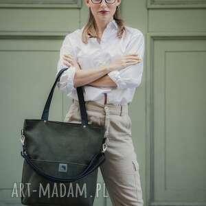 torebki torba w kolorze khaki z grubego wodoodpornego nubuku, torebka na ramię