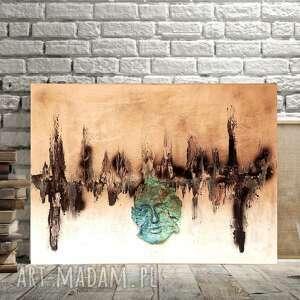 pod choinkę prezenty, turkusowe miasto, obraz do salonu, abstrakcyjny