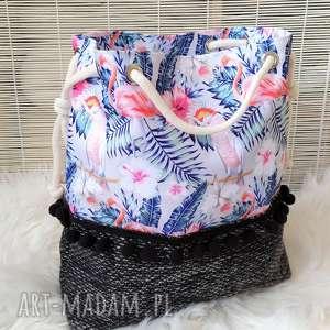 torba worek z flamingami i papugami, torba, torebka, plażowa, worek, damska