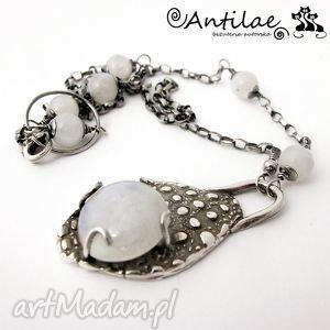 Lalin - kamień księżycowy, srebro, art clay naszyjniki antilae
