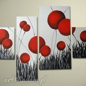 dmuchawce 8 - 130x70cm, obraz, ręcznie, malowany, płótnie, dmuchawce, kwiaty