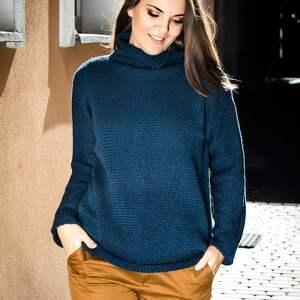 Ciepły, granatowy sweter swetry hermina sweter, z golfem, wełna