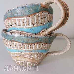 dwa duże kubki piegowate - pastelowe, ceramika rękodzieło, kubek z gliny