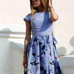 handmade sukienki sukienka w paski w haftowane kwiaty steffi roz. 34;36