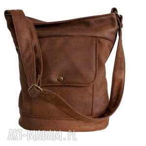 na ramię vintage wór nubuk brąz, vintage, torba, torebka, retro, vegan, szkoła