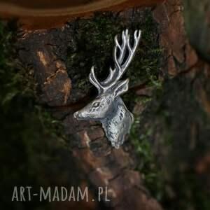 hand made broszki duża przypinka z jeleniem ze srebra