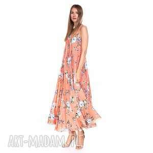 sukienka megan, kwiaty, koralowa, zwiewna, kolorowa, lekka, letnia, prezent
