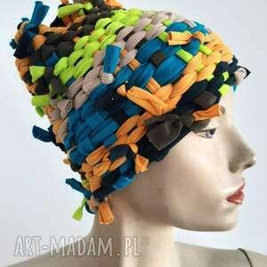czapki czapka tkana kolor#5, odcienie zieleni, szydełko, kolorowa czapka