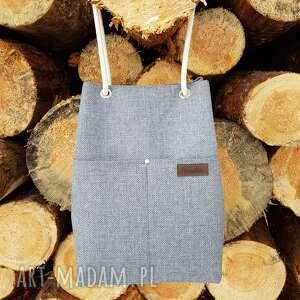 ręcznie robione na ramię torebka szara plecionka i nawełniane sznurki