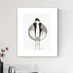 grafika 30x40 cm wykonana ręcznie, abstrakcja, obraz do salonu, 2618861