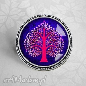 drzewo serc- piĘkna broszka z grafika artystycznĄ w szkle - drzewo, serce