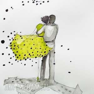 tylko z tobą akwarela artystki plastyka adriany laube, akwarela, miłość, sukienka