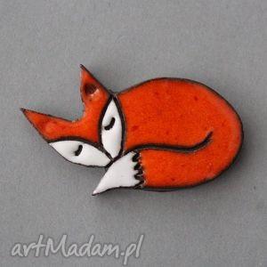 lisek-broszka ceramiczna - skandynawski, prezent, minimalizm, design, jesień, urodziny